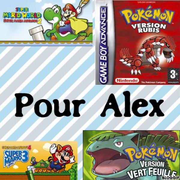 Montage Super Mario Advance 2 Mario et Yoshi,Super Mario Advance 4 Mario et Luigi,Pokémon version rubis Groudon et Pokémon version vert feuille Bulbizarre créé par moi pour Alex