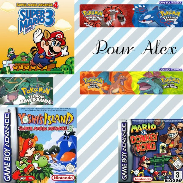 Montage Super Mario Advance 4 Mario et Luigi,Pokémon version émeraude Rayquaza,Super Mario Advance 3 Bébé Mario et Yoshi,Pokémon version rubis Groudon,Pokémon version saphir Kyogre,Pokémon version rouge feu Dracofeu,Pokémon version vert feuille Bulbizarre et Mario VS Donkey Kong Mario et Donkey Kong créé par moi pour Alex