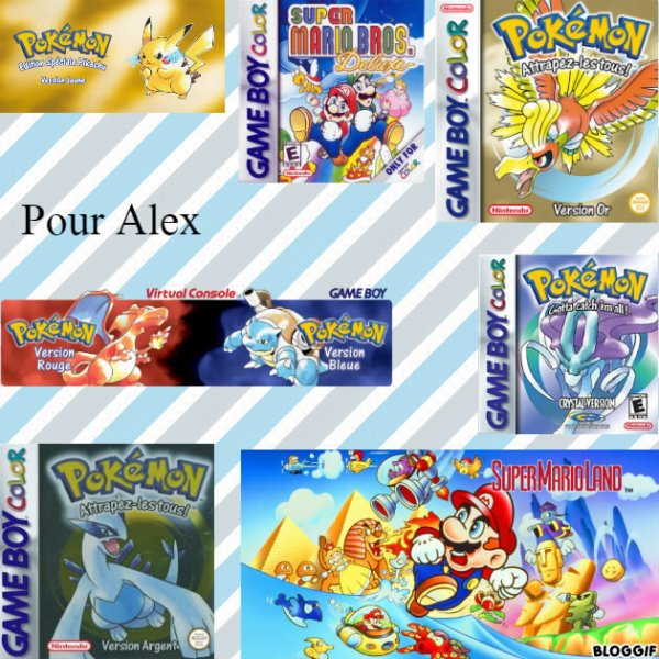 Montage Pokémon version jaune Pikachu,Super Mario Bros Deluxe Mario,Luigi et Peach,Pokémon version or Ho-Oh,Pokémon version rouge Dracofeu,Pokémon version bleu Tortank,Pokémon version Cristal Suicune,Pokémon version argent Lugia et Super Mario Land Mario créé par moi pour Alex
