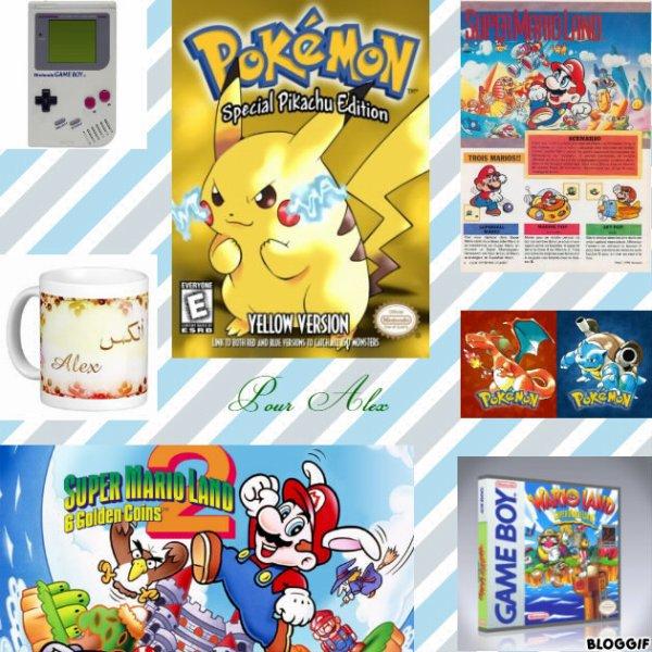 Montage Pokémon version jaune Pikachu,une Game Boy,Super Mario Land Mario,Pokémon version rouge Dracofeu,Pokémon version bleu Tortank,Super Mario Land 2 Mario,Wario Land Wario et une tasse avec le prénom de Alex créé par moi pour Alex