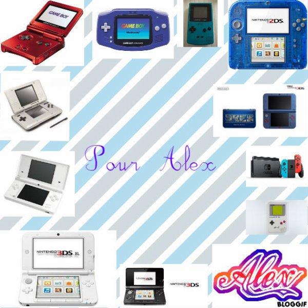 Montage une Game Boy Advance SP,une Game Boy Advance,une Game Boy Color,une Nintendo 2DS,une Nintendo DS,une New Nintendo 3DS,une Nintendo DS Lite,une Nintendo Switch,une Game Boy,une Nintendo 3DS XL,une Nintendo 3DS et le prénom de Alex créé par moi pour Alex