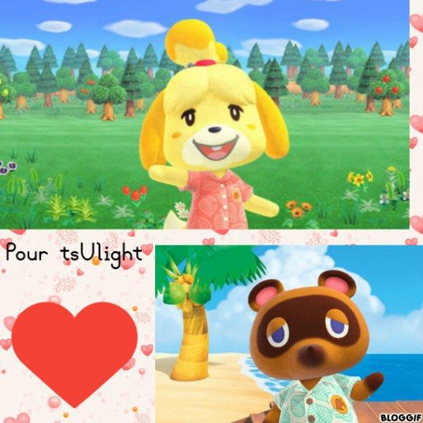Montage Animal Crossing New Horizons Marie et Tom Nook créé par moi pour tsUlight