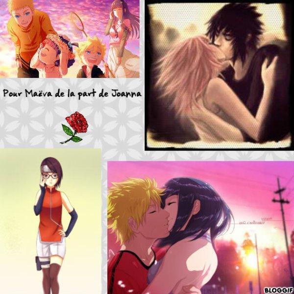 Montage Naruto,Hinata,Sakura,Sasuke,Sarada,Boruto et Himawari créé par moi pour Maëva de la part de Joanna