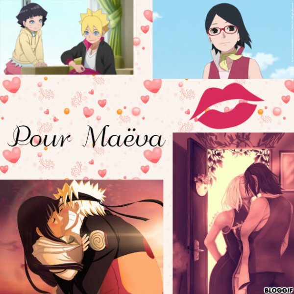 Montage Naruto,Hinata,Sakura,Sasuke,Sarada,Boruto et Himawari créé par moi pour Maëva