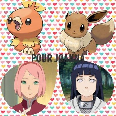 Montage Pokémon Poussifeu et Evoli et Naruto Sakura et Hinata créé par Alex pour Joanna