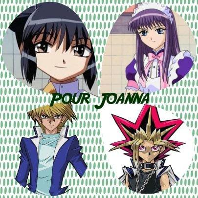 Montage Mew Mew Power Corina et Estelle-Renée en humaines et Yu-Gi-Oh! Joey Wheeler et Pharaon Atem créé par Alex pour Joanna