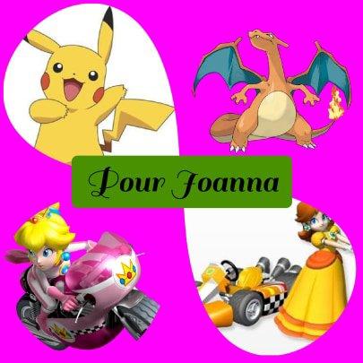 Montage Pokémon Pikachu et Dracofeu et Mario Kart Peach et Daisy créé par Alex pour Joanna