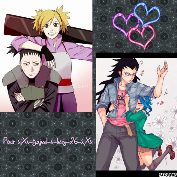 Montage Naruto Shikamaru et Temari et Fairy Tail Reby et Gajeel créé par moi pour xXx-gajeel-x-levy-26-xXx