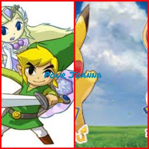 Montage The Legend of Zelda:Spirit Tracks Link et Zelda en esprit et Pokémon Let's Go Pikachu et Evoli créé par Alex pour Joanna