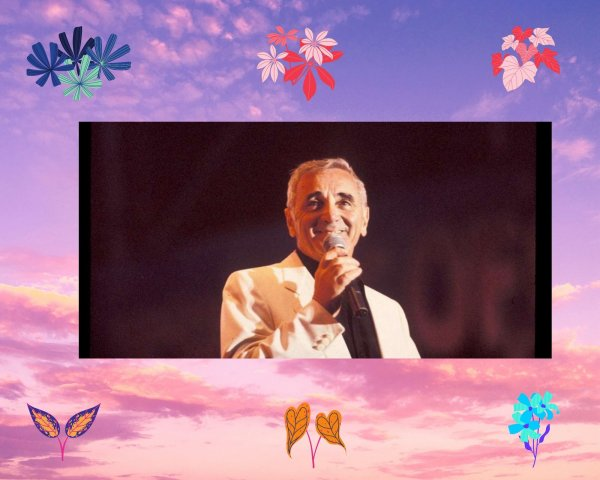 """Paroles de """"Je me voyais déjà"""" + montage Canva Charles Aznavour créé par moi"""