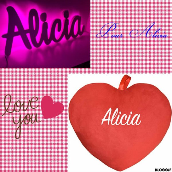 Montage le prénom de Alicia créé par moi pour Alicia