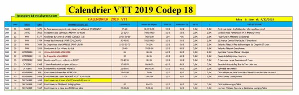 Calendriers rando VTT 2019