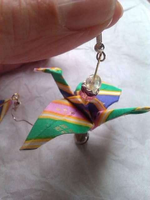 boucles d'oreilles  grue origami 16