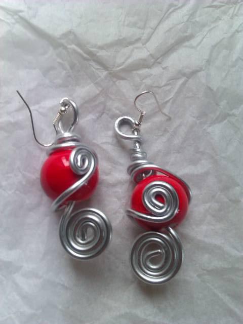 boucles d'oreilles argent et rouge 8