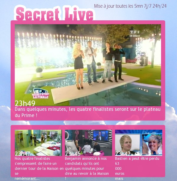 . Article deux - le live de Secret Story .