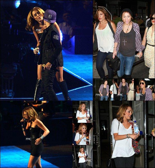 . Apres 2 mois passer sur le tournage de LOL, Miley s'est enfin decider a nous montrer le bout de son nez ! Hier, elle performe sur scene avec Justin Bieber, elle quitte ensuite le concert pour flaner, tout sourire dans les rues de NYC toujours avec sa Maman Tish et sa maquilleuse !.