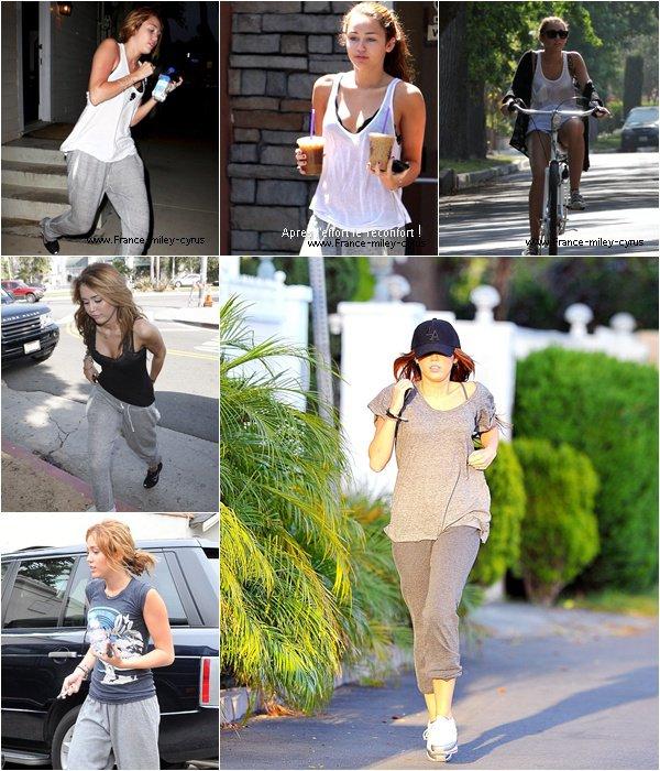 """. En velo, a pied ou dans les salles de gym, Miley Cyrus est tres soucieuse de son apparence, eh oui car a Hollywood le moindre petit poil de graisse et vos êtes """"OUT"""" !."""