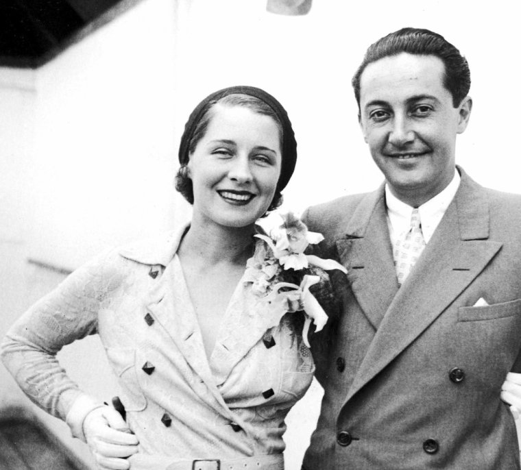 Norma SHEARER et son mari Irving THALBERG en 3 photos : de haut en bas : Le couple à New-York le 15 Juillet 1931 / à Los-Angeles en Février 1933 / à Hollywood le 19 Septembre 1935.