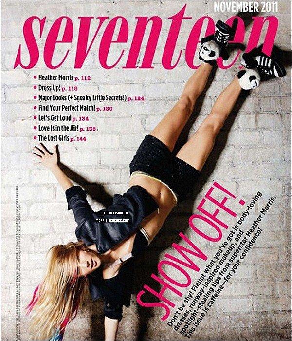 . Heather en couverture de l'édition du mois de novembre du magazine pour ado Seventeen..