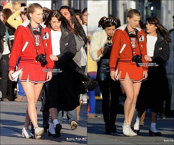 06/12/2011 - Heather et le cast de Glee sur le tournage d'un épisode.