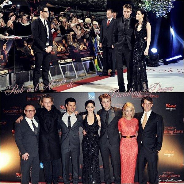 La promo de Breaking Dawn continue dans le pays natal de mister RPattz, London! Un nombre important de personnalités étaient présentes (que l'on a plus vu que le cast de Twilight d'ailleurs ^^)