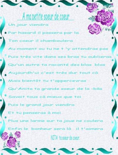 Un Poeme Que J Ai Ecris A Ma Petite Soeur De Coeur Je T Aime