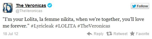 """@Lisa_Veronica @JessicaVeronica @TheVeronicas Lolita . Les filles ont recemment posté sur leur page officiel Facebook les premieres paroles de Lolita. Je vous laisse juste ici la traduction: """"Je suis ta Lolita, la femme Nikita. Lorsqu'on est ensemble, tu m'aimerais pour toujours."""" ."""
