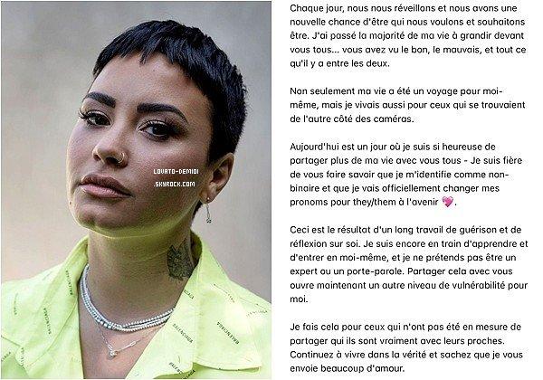 19/05/21 - Demi Lovato se définit comme non binaire, et a officiellement changé ses pronoms pour they/them.