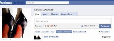 La page fan facebook de talons-louboutin.