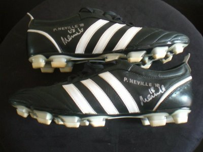 NEVILLE MANCHESTER UNITED ENGLAND WORN BOOTS