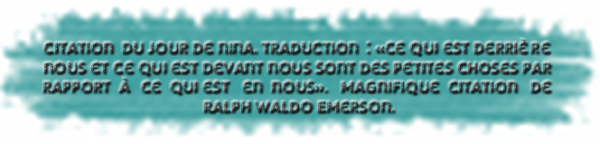 * Citation du jour de Nina.*