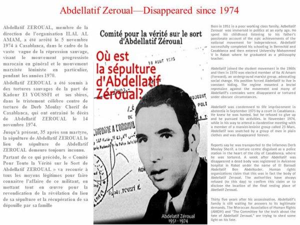 Abdellatif Zeroual - disappeared since 1974