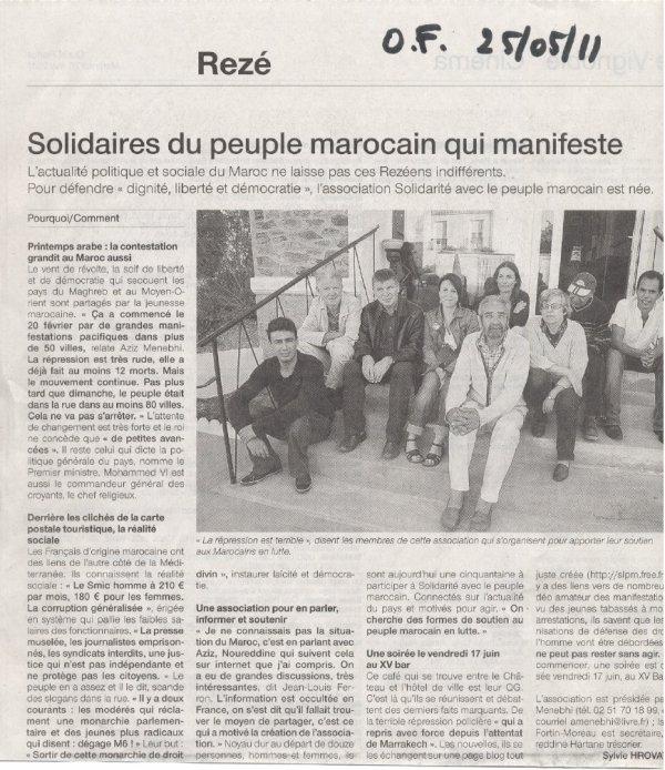Solidarité avec le peuple du Maroc