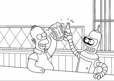 Homer simpson et bender coloriage futurama - Dessin d homer simpson ...