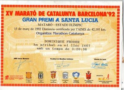 AVANT MON AVC 15 ANS DE COURSE A PIED ET 1ER MARATHON 15 MARS 1992