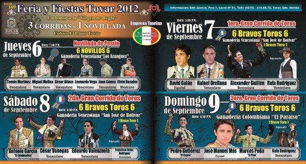 Empresa Taurina Ganadería de Lidia San José de Bolívar presenta carteles de la feria de Tovar 2012 visita nuestra pagina web www.ganaderiasanjosedebolivar.com.ve haciendo click en la imagen siguiente...