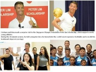 Irina et Cristiano à un événement pour soutenir Peter Lim Bourse à Singapour.
