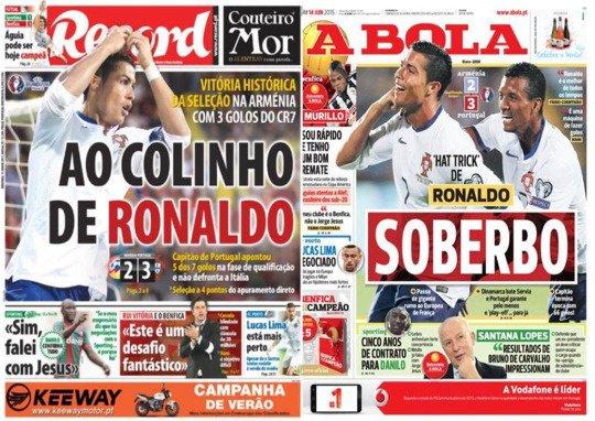 Une des journaux portugais après le match contre l'Arménie (14/06)