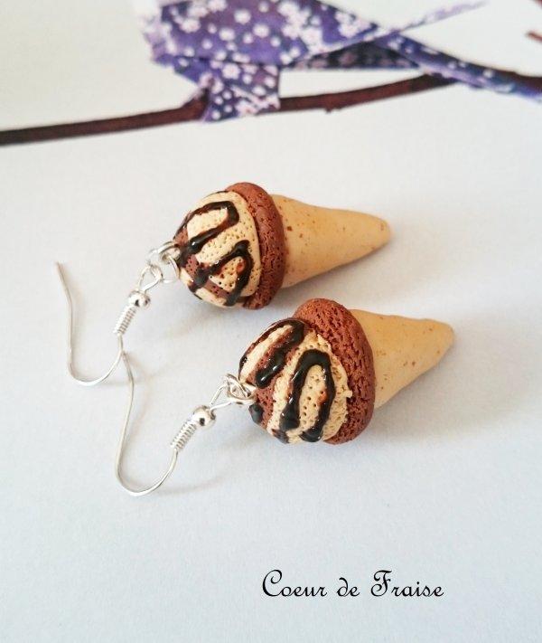 Boucles d'oreilles Cornets de glace Vanille Chocolat