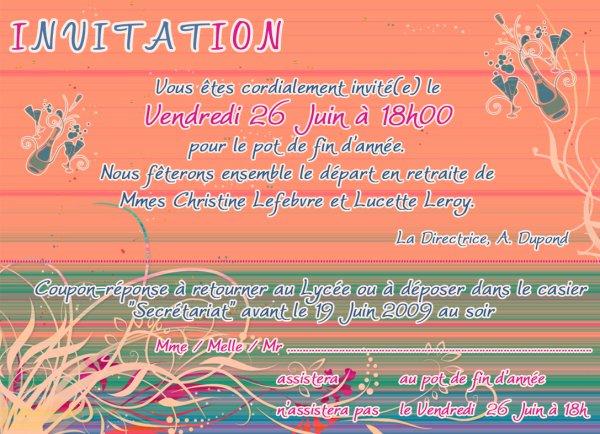 invitation pot de fin d annee