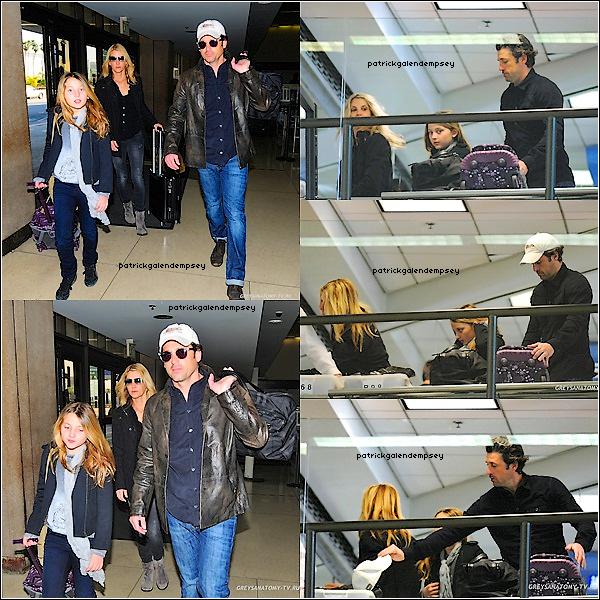 .  18 Fevrier 2012 - Patrick  était  à l'aéroport de Los Angeles en compagnie de sa femme Jillian et sa fille.  .