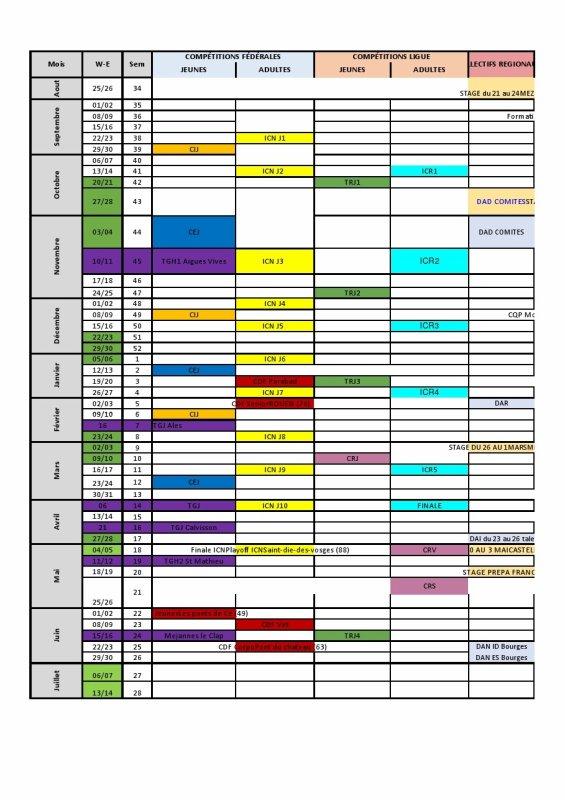 Mise à jour des calendriers Jeunes et adultes