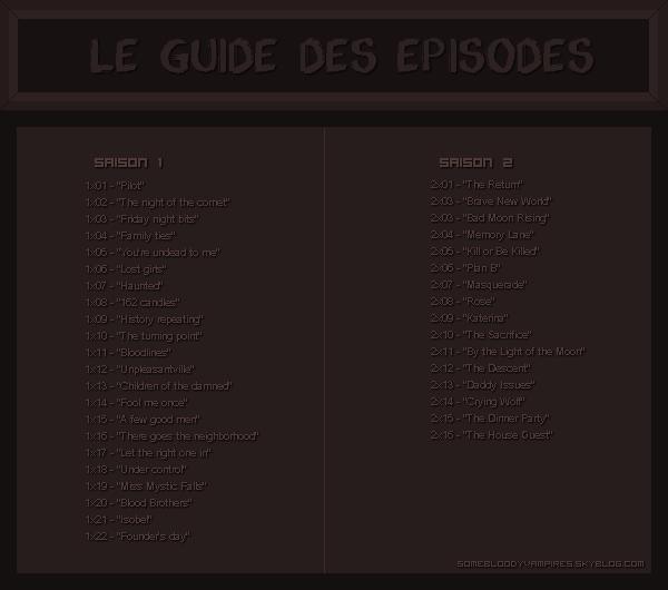 Les guide des épisodes