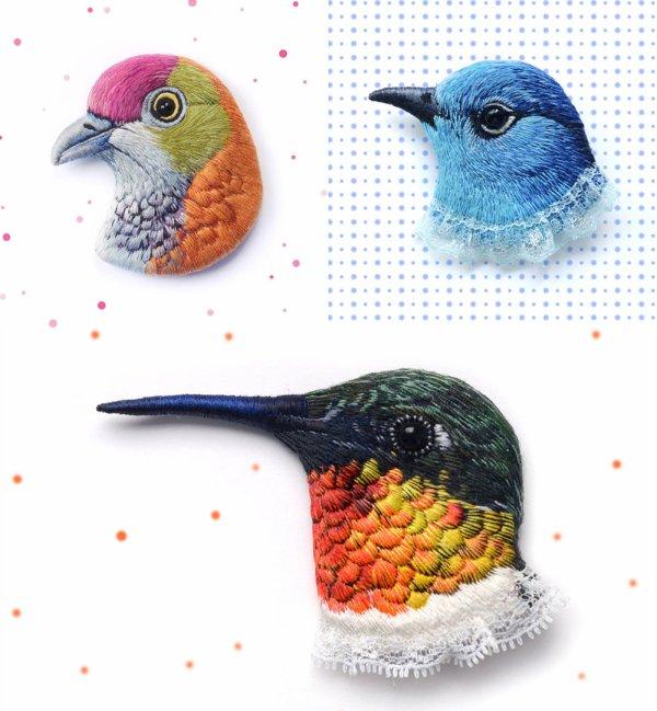 Les  Oiseaux Sauvages ... Brodés par Paulina Bartnik !