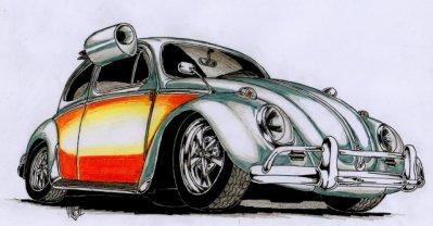 SUPERBE DESSIN DE MA VW COX 1969