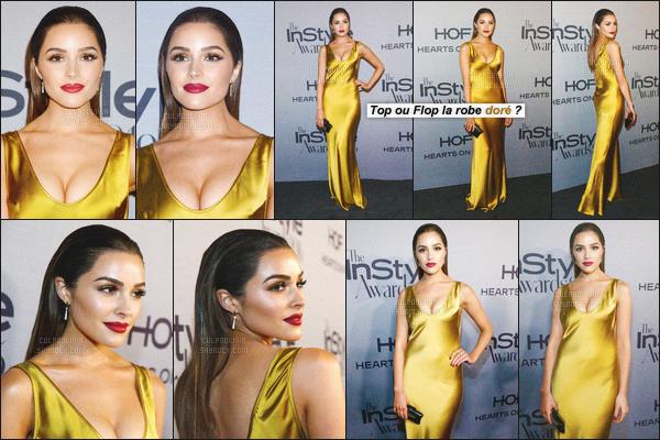 """- 24/10/16 - Olivia Culpo à été aperçue seule au second événement des """"Annual Instyle Awards"""" situé à Los Angeles.C'est avec une tenue classe, qu'Olivia a posé sur le tapis rouge avec une magnifique longue robe gold ! Que penses-tu de la tenue d'Olivia?-"""