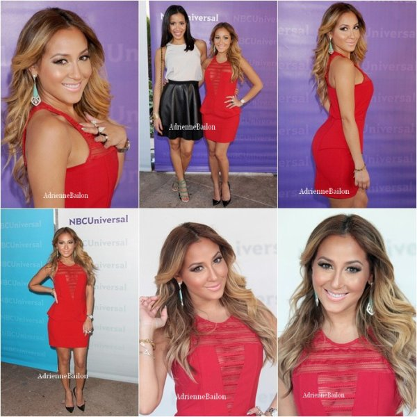 "18/04/12. Adrienne Bailon arrives était présente aux ""2012 NBC Universal Summer Press Day"" au ""Langham Huntington Hotel and Spa"" à Pasadena en California."