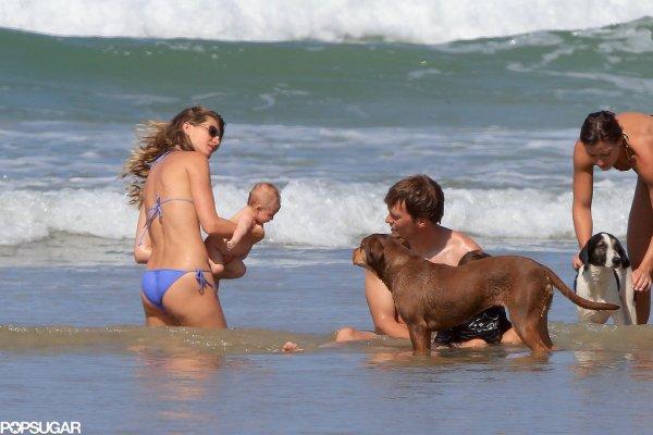 Bikini-Clad Gisele Hits the Beach With Shirtless Tom, Baby Vivian, Jack, and Ben