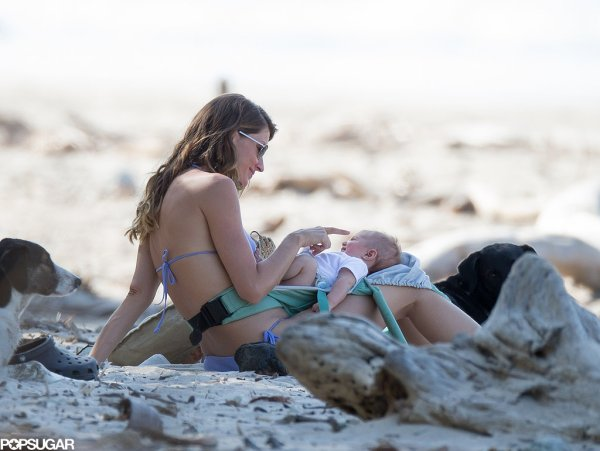 Bikini-Clad Gisele Hits the Beach With Shirtless Tom, Baby Vivian, Jack, and Ben