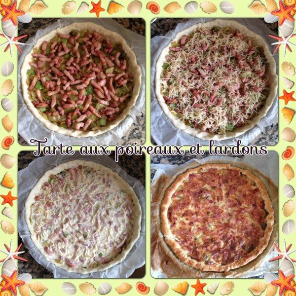 Tarte aux poireaux,lardon,gruyère râpé et sa crème